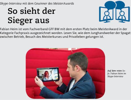 Pressebericht im Fenster Frontale über den 1.Platz von Fabian Heim